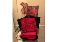 Red, brown & white cushion, blanket & decoration collection