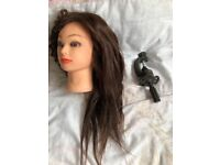 Hairdressing training head, only used twice. Comes with clamp