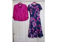 Dress and Jacket size 12 by Jacques Vert in Pink and grey