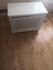 Small white wood cupboard - lattice drop down door - free to a good home!