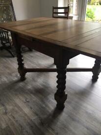 Oak dining table with drawer & barley twist legs