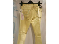 Genuine Rock & Republic jeans yellow w/ Swarovski crystal detail, size 27, brand new never worn, £75