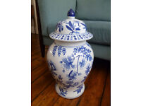 Large Blue & White Chinese Vase with Lid