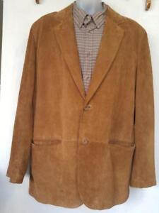 46 XL Mens Danier Suede Jacket EXCELLENT Camel Brown Canada Coat - Real Leather - Extra Long Sleeves - Buttersoft Soft