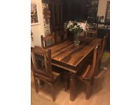 Natural Solid Oak Large Dresser / Kitchen Storage & Kitchen Table c/w Chairs - Very Good Condition