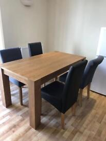 Solid wood dinning table with 4 chairs
