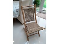 Wicker and bamboo chair.