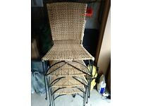 SET OF 4 WICKER DINING/CONSERVATORY CHAIRS WITH IRON FRAMES