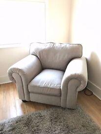 Beige Grey Armchair