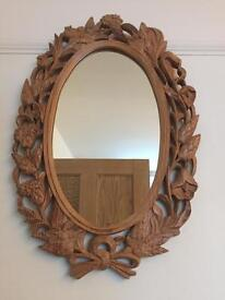 Beautifully Carved Oval Wooden Decorative Mirror