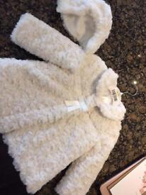 Baby faux fur hat/ coat