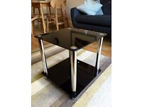 Black and Silver Twin Shelf Square Glass Coffee / Bedroom / Side Table