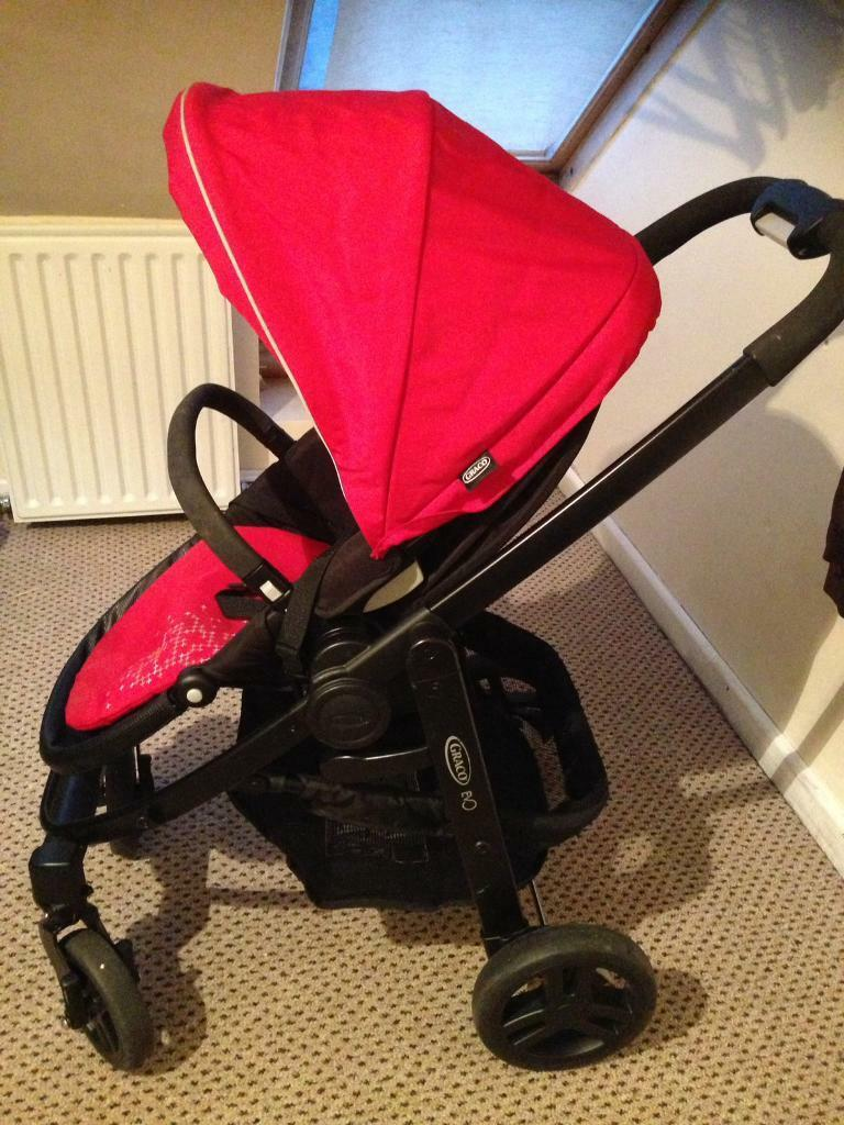 Pram with baby changing bag