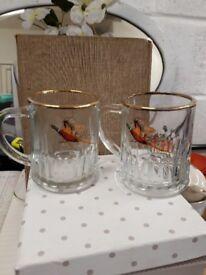 Pheasant Tankards - glass