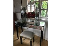 Mirrored Dressing Table, Mirror and Stool
