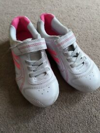 Girls pink and white trainers