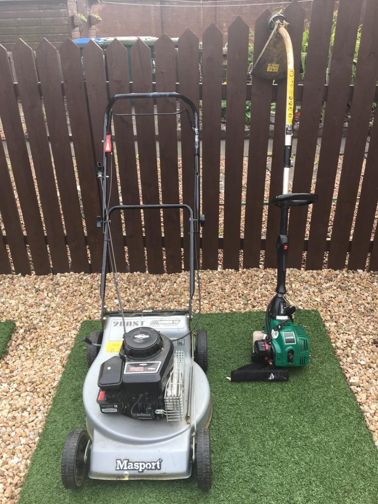 Petrol lawn mower and petrol strimmer