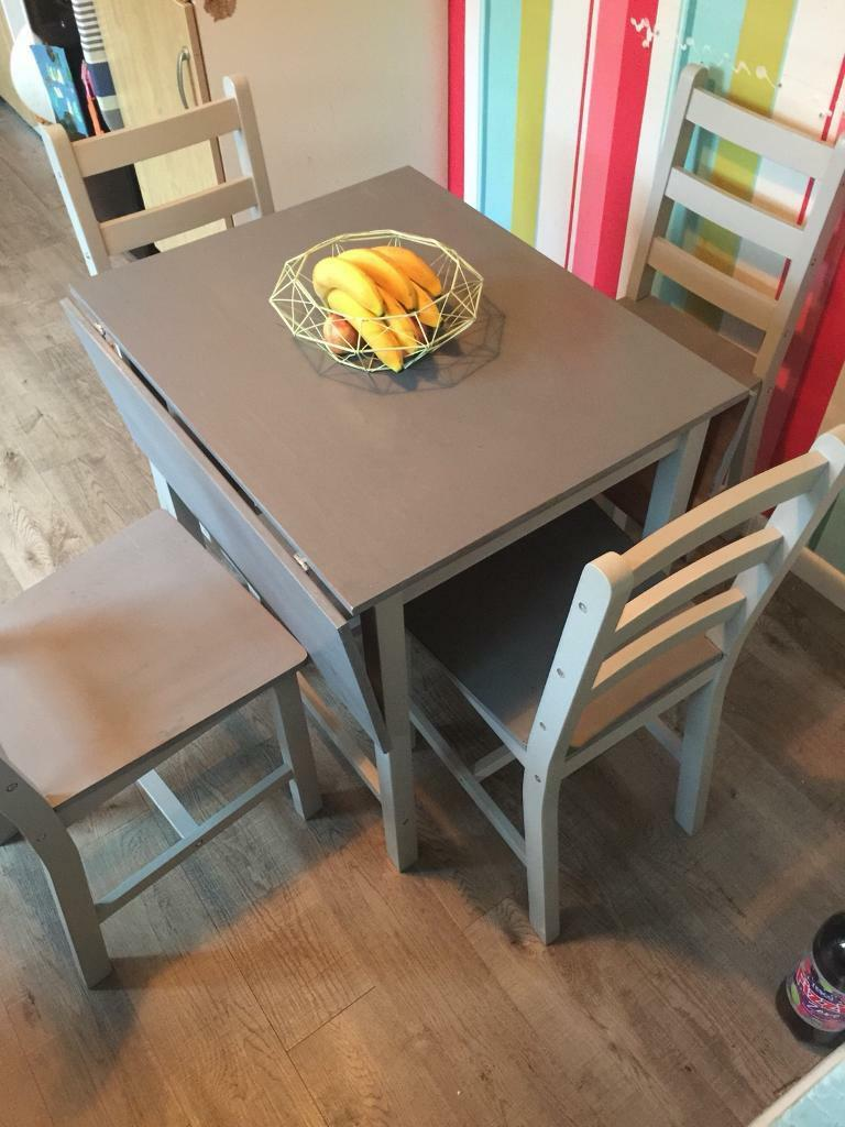Shabby Chic Grey Extending Erfly Drop Leaf Table And 4 Chairs Solid Wood Compact