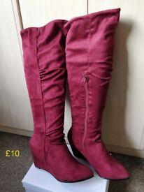 Wine knee length wedge heel boots