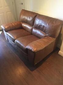 2 seater leather sofa light brown/tan colour