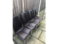 6 x brown leather dining chairs FREE (4 pictured, 6 in total)