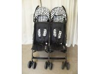 OBaby Disney monochrome double pushchair buggy from birth