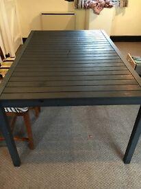 Black metal outdoor garden table