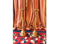 Pair of antique solid brass candle sticks 6.2kg each 74cm height