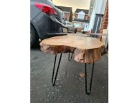Oak live edge coffee table.