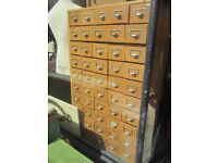 BANK OF DRAWERS INDUSTRIAL APOTHECARY LIBRARY FILING CABINET PIGEON HOLE WOOD 1960S