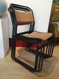 Set of 4 vintage stackable canvas chairs. Cafe/Bar/Restaurant