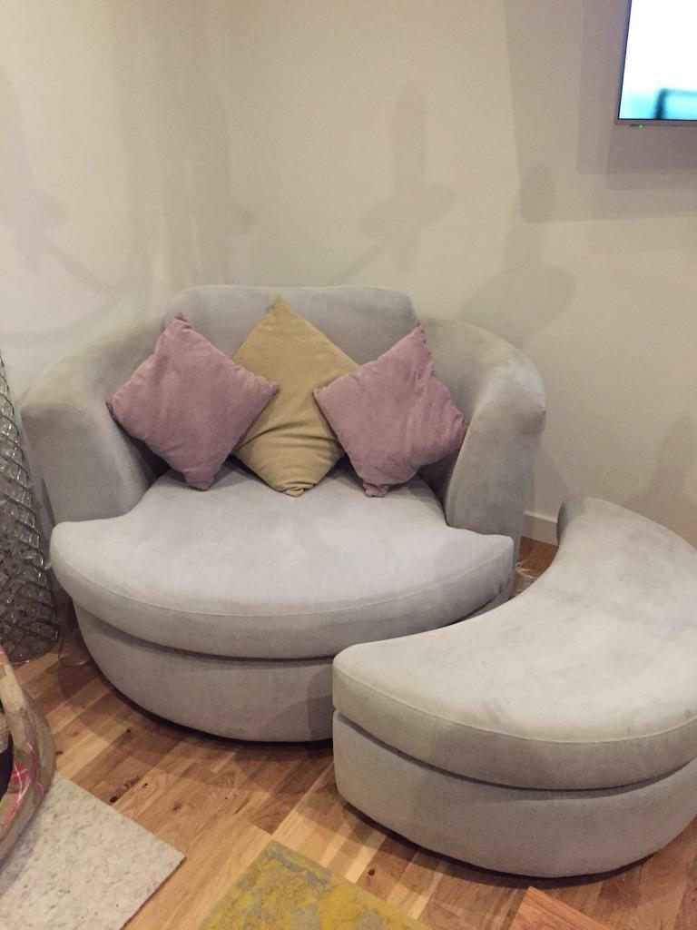 dfs freya large swivel chair and half moon footstool in truro