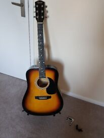 Squire by fender acoustic guitar and accessories
