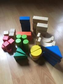 Bag of 50 Wooden Toy Building Bricks/Blocks