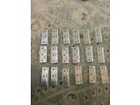 9 Pairs (18 in total) of Steel Hinges, sized for internal doors with 9 matching door tubular latches