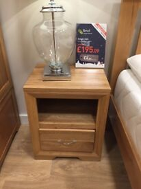 """2 Solid Oak (from Oak Furniture Land) """"Bevel"""" Bedside Tables. Current Model selling for £195 each."""