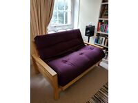 2 Seater Futon. Rubber Wood Frame and Plum Matress Excellent Quality - £240 ono, Cash on collection.