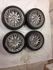 5x100 alloys and tyres x4