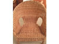 Childs rattan chair and cushion