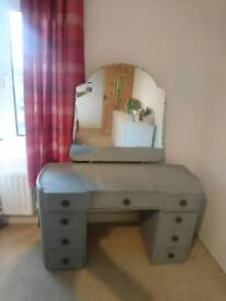 Matching upcycled 1920s dressing table and wardrobe