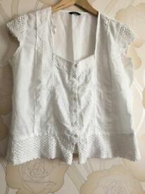 White summer top. Size 14