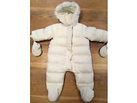 Mamas and Papas White Quilted Pramsuit with attached Mittens (3 - 6 Months)