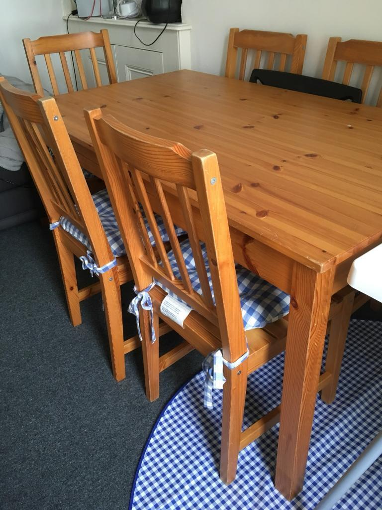 IKEA dining table and 6 chairs - SOLD