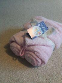 Little Angels pink hooded infant bath towel