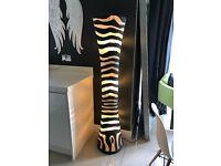 Large Vase Lamp Zebra Striped Charcoal Grey Freestanding Designer Floor Light Full Length RRP £295