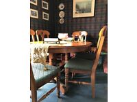 Solid pine extendable table with 6 chairs