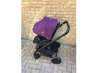 Joie chrome travel system in purple includes gemm car seat