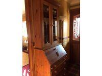 Pine Bureau with display cabinet