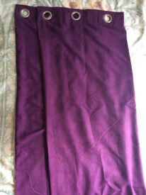Purple Lined Curtains, Each Curtain 46in x 70in, Good Condition