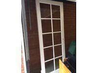 White indoor glass panel door, good condition